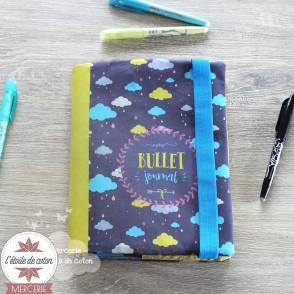 Tissu illustré protège Bullet Journal - nuages