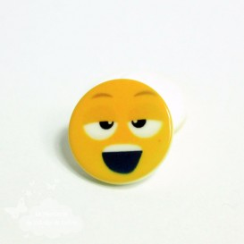 Bouton smiley jaune - 18 mm