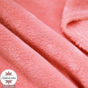 Tissu polaire doudou - corail