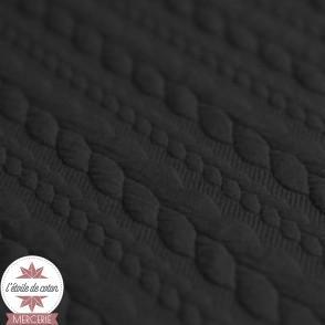 Jersey matelassé torsade - noir