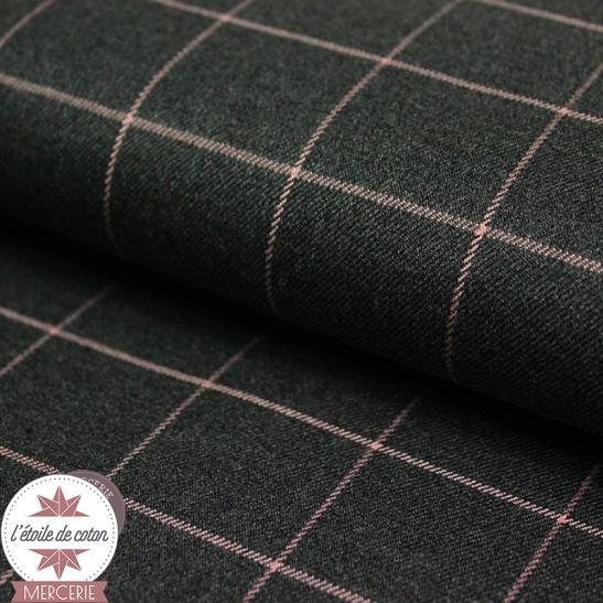 Tissu carreaux - gris anthracite/rose