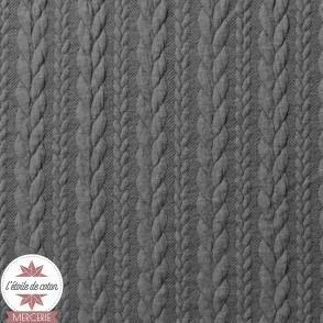 Jersey matelassé torsade - anthracite