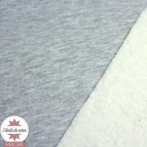 Tissu sweat molletonné - gris