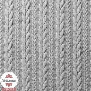 Jersey matelassé torsade - gris chiné
