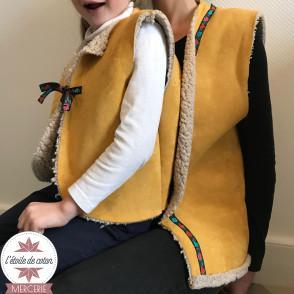 Fourrure mouton réversible suédine - moutarde