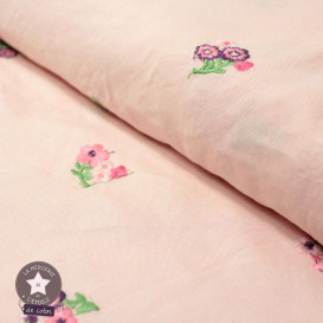 Tissu viscose fleurs brodées - gris