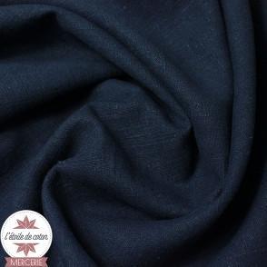Tissu lin bleu marine - Oeko-Tex