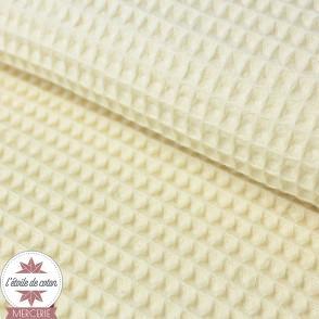 Tissu nid d'abeille écru (Oeko-Tex)