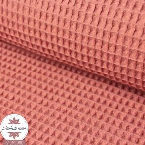 Tissu nid d'abeille rose blush (Oeko-Tex)