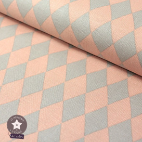 Tissu coton Diamond beige/saumon - Oeko-Tex