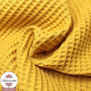 Tissu nid d'abeille moutarde (Oeko-Tex)