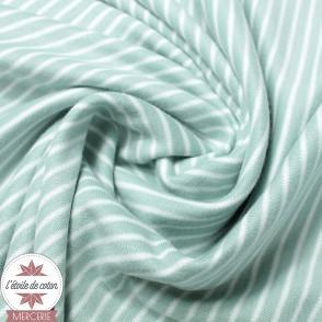 Jersey interlock bio - Rayures vert d'eau/blanc