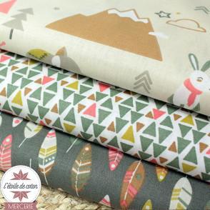 Tissu coton Little Adventure vert/écru - Oeko-Tex
