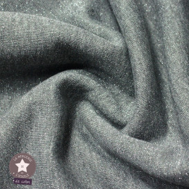Tissu sweat molletonné lurex - gris chiné
