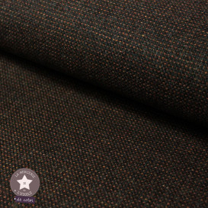 Tissu laine petits carreaux - brun/orange