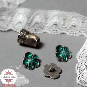 Bouton fleur en métal - turquoise