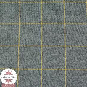 Tissu polyviscose à carreaux - gris/moutarde