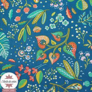 Tissu coton Ancolie - bleu intense