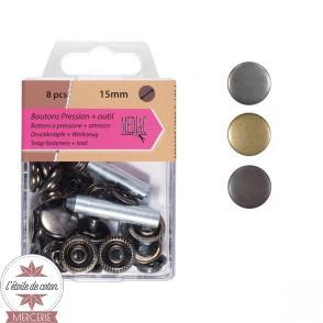 Lot de 8 boutons pression - tissus lourds + outil
