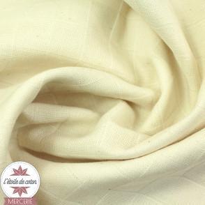 Tissu tetra (langes) coton bio - blanc