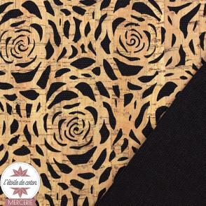 Coupon 50 x 68 cm - tissu liège fleurs