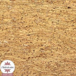 Coupon 50 x 70 cm - tissu liège véritable paillettes argent