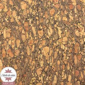 Coupon 50 x 70 cm - tissu liège véritable paillettes or