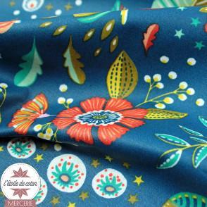 Tissu coton enduit Ancolie - bleu intense