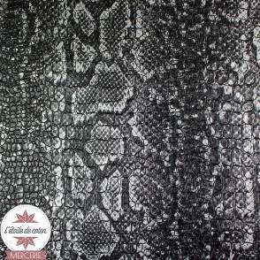Coupon 50 x 70 cm - simili cuir Croco Snake noir/argent