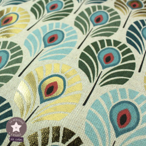 Tissu polycoton Plumes de Paon - bleu/vert/or
