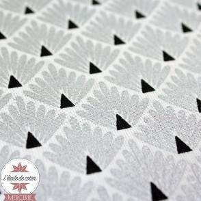 Tissu coton Ecailles lagon/moutarde
