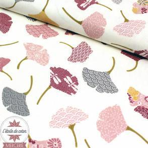 Tissu coton Ginkgo - rose/ivoire