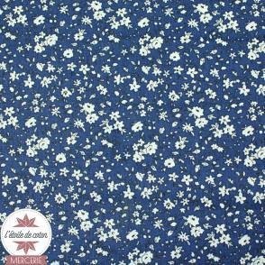 Tissu coton Léonie - bleu foncé