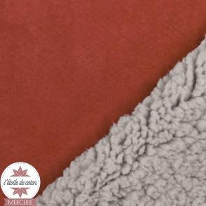 Tissu suédine doublée fourrure - rouille