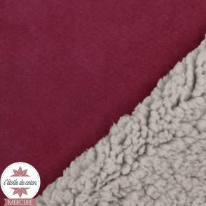 Tissu suédine doublée fourrure - bordeaux