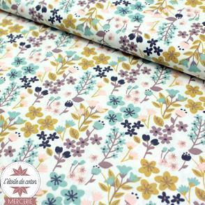 Tissu coton millefleurs paon/blush - Oeko-Tex