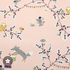 Tissu coton Tea Time rose - Oeko-Tex