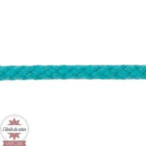 Cordon tressé 5 mm coton - bleu