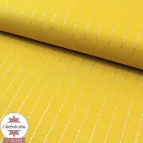 Tissu viscose rayures lurex - moutarde