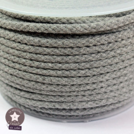 Cordon tressé 5 mm - gris chiné