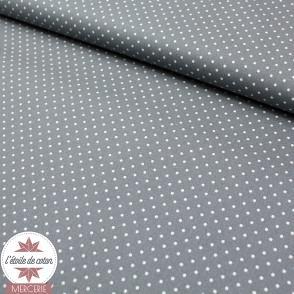 Tissu coton enduit Oeko-Tex - mini pois gris