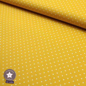 Tissu coton enduit Oeko-Tex - mini pois jaune