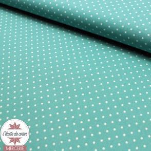 Tissu coton enduit Oeko-Tex - mini pois corail