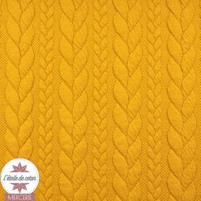 Jersey matelassé torsade - jaune moutarde