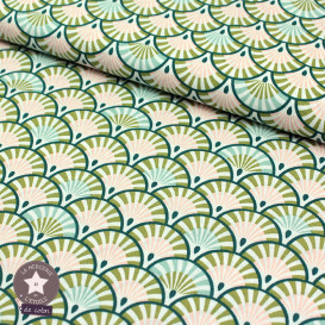 Tissu coton Ehua vert/blush - Oeko-Tex