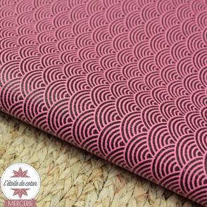 Coupon 50 x 70 cm - simili cuir fin vagues rouge/noir