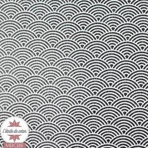 Coupon 50 x 70 cm - simili cuir fin vagues noir/ardoise