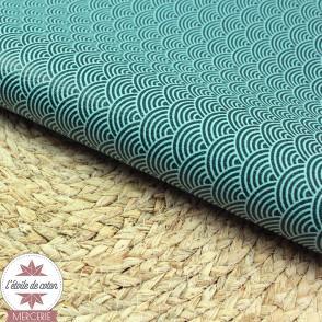 Coupon 50 x 70 cm - simili cuir fin vagues menthe