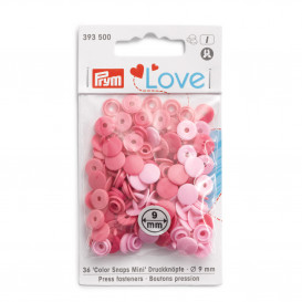 Lot de 36 mini boutons pression Prym - mix rose