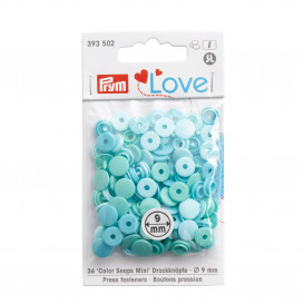 Lot de 36 mini boutons pression Prym - mix bleu